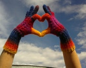 Multicolor Hand Knit Gloves Wool Yarn Autumn Fall Winter Cozy designed by dodofit on Etsy