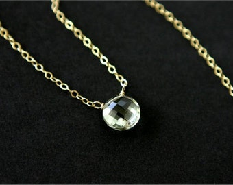 Gemstone Choker Necklace, Green Amethyst Faceted Coin Shaped Briolette, Gold-filled Chain, Sterling Silver Chain. Dainty, Everyday. N085.