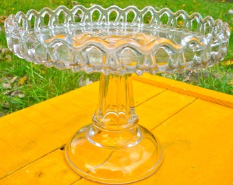 Cake Plate, Footed Cake Stand, Cupcake Pedestal Plate, Bakery Display, Retro Kitchenware, Glass Serving Dish, Dessert Plate, Dessert Display