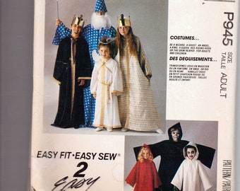 McCalls Pattern P945 CUT Adult Size 30.5-42 King, Queen, Angel, Reaper, Ghost, Wizard, and Little Red Riding Hood Costumes