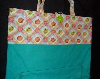Reusable Fabric Shopping Bag, sturdy Turquoise cotton duck fabric, with Monkey's and Frogs Print Boarder, grocery bag, market bag