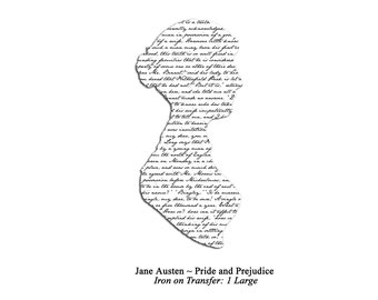 Jane Austen Pride and Prejudice Silhouette Iron on Transfer: Black on White, Large