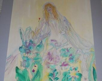 Guardian Angel, Angel Art, Womens Art, Goddess Healing Sewn Watercolor, 22x28 Angel, KSonya, Kathleen Leasure, FromGlenToGlen