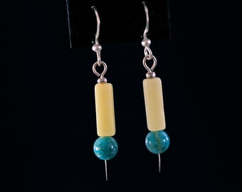 Yellow Jade and Green Magnesite Drop Earrings
