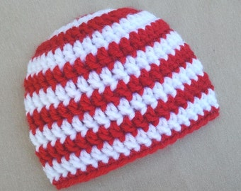 Christmas Newborn Hat, Crochet Christmas Baby Hat, Red and White Candy Cane Stripes