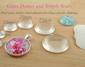 20 Round GLASS and SEALS Sets -  Glass Domes and Clear Photo Safe Adhesive Discs for Photo Glass Jewelry Making - alternative to Glaze