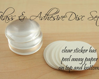 10 GLASS and SEALS -  Pick Your Size Shape Glass Domes and Clear Photo Safe Adhesive Discs for  Glass Jewelry Making -alternative to Glaze
