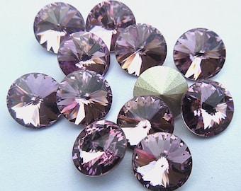 12 Light Amethyst 39ss Swarovski Rivoli Rhinestones-bulk rhinestones-wholesale rhinestones-jewelry supplies-loose rhinestones Swarovski