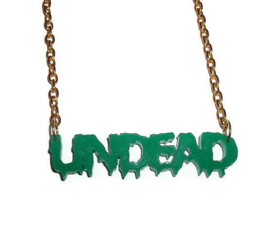 Undead Necklace SALE was 11.99 now 7.99, Dark Green Laser Cut Pendant Gold Chain