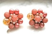 Pink Earrings Pearl Mauve Clip on Stamped Hong Kong Cluster Beads Faux Mid Century