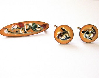 Enamel Jewelry Set Vintage Pin Earring Set 1950s Copper Pin Brooch and Earring Sunny Ochre