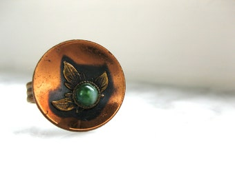 Copper Ring Vintage with Green Stone and Leaf Boho Hippie Adjustable Fashion Festival Jewellery