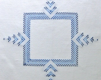 Blue Table Doily Stitched Blue White Fabric Vintage Cross Stitch Handmade Centerpiece Kitchen decor