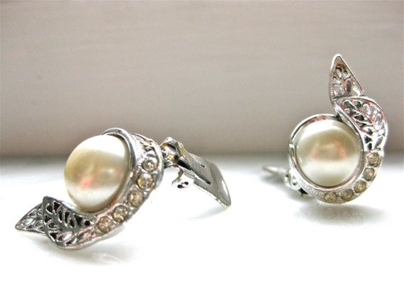 Pearl and Rhinestone Vintage Clip On Earrings Silver Costume Jewelry Patent Stamped Date