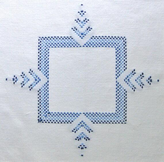 Blue Table Doily Stitched Blue White Fabric Vintage Cross Stitch Handmade Centerpiece Kitchen decor