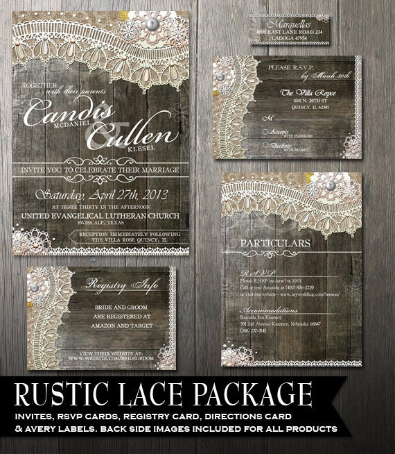 Rustic Lace Wedding Invitation Package
