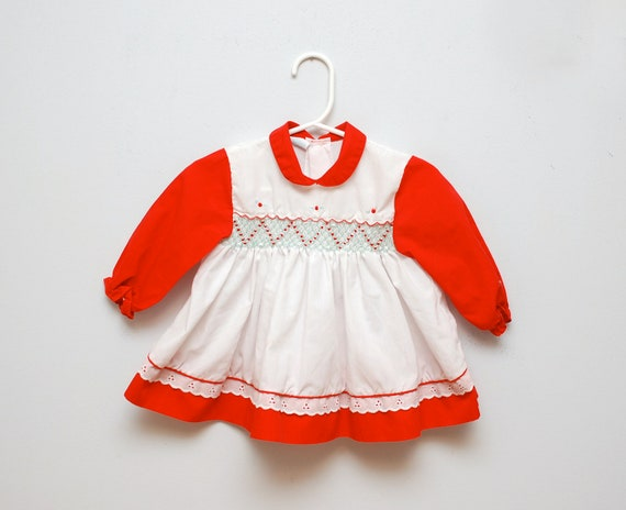 Vintage 1970s Smocked Holiday Baby Dress