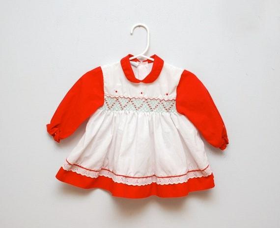 Vintage 1970s Smocked Holiday Baby Dress By Potatocakevintage