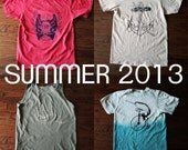 ON SALE - Any Two Summer 2013 Organic Tee Shirts or Tank Tops - FREE Shipping