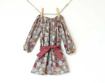Girls Long Sleeve Peasant Dress with Sash / Gray Birdhouses / 2T / Ready to Ship