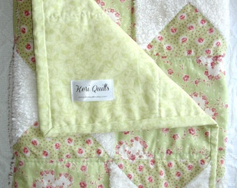Baby Girl Shabby Chic Chenille and Mint Green Quilt Throw