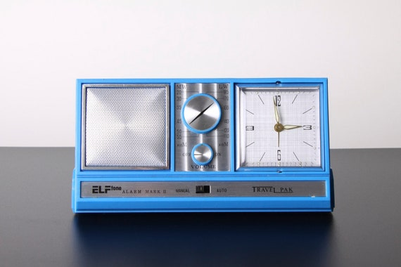 Vintage Blue Elftone Travel Transistor Solid State Radio Alarm Clock Plastic Space Age Atomic 1970's Boxed