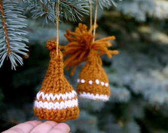 Miniature Knit Hat Ornaments- Spice Brown- 2 Knitted Stocking Caps- Miniature Elf Hats- Decor, Doll, Pet