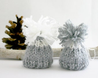 Miniature Hats- 2 Tiny Hats- Grey Hand Knit Caps- Set of Two- Doll, Small Pet, Teddy Bear