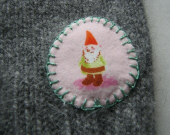 Upcycled Gnome Longies - Knee Lengh - Cashmere Mix- Grey - Size 3 T / 4T