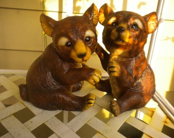 PLEASE, We NeeD A HoMe.... Cute Pair of Bear Cubs,Eclectic,Woodland,Log Cabin,Garden
