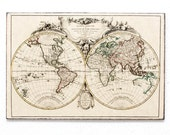 "Retro Wood Wall Art 10x12"" 20x30 cm, World Map from 18-th century, Wall Hanger, Art Deco Room Decor - DejaVuPrintStore"