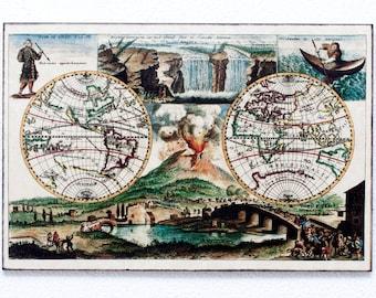 "Retro Wood Wall Art 8x12"" 20x30 cm, World Map from 1690, Including Mt Vesuvius Erupting and Niagara Falls, Wall Hanger, Art Deco Room Decor"