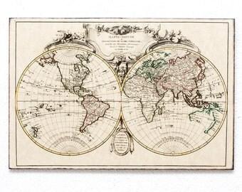 "Retro Wood Wall Art  8x12"" 20x30 cm, World Map from 18-th century, Wall Hanger, Art Deco Room Decor"