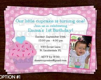 Cupcake Theme Birthday Party Invitation | Purple & Pink | Personalized | Printable DIY Digital File