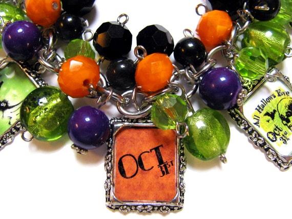 Halloween Altered Art Charm Bracelet Orange Black Green Glass Beads