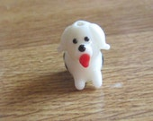 Seven (7) Lampwork Glass Dalmation Beads Adorable for Jewelry Making
