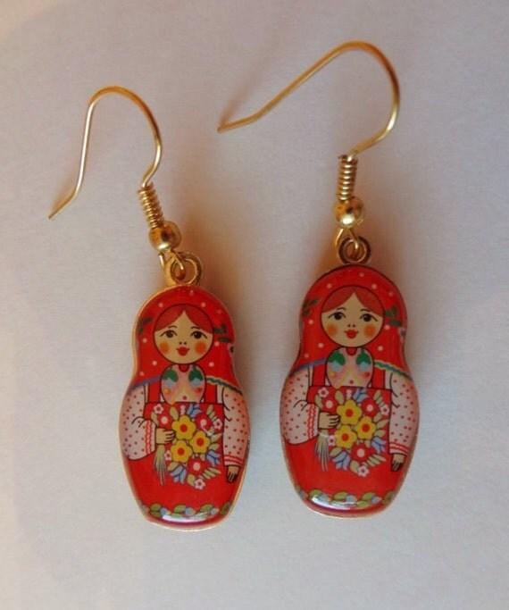 Matryoshka Earrings Babushka Russian Doll Free Ship.