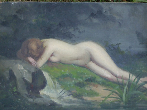 Original french oil painting. Nude on the river. 1920