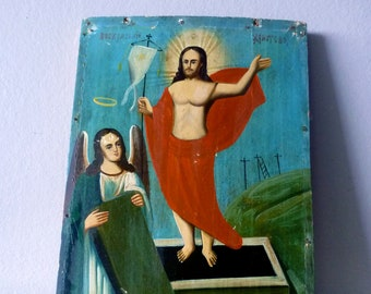 SALE 1800's Hand-Painted Russian Icon featuring the Resurrection of Jesus Christ, Original Art, Painting
