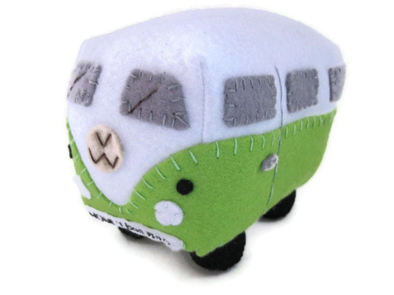 VW Campervan Gift VW Campervan Plush Collectible, Personalized Green Car Toy, Made to Order