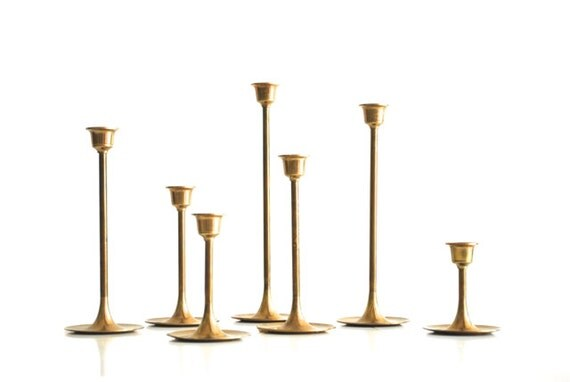 Brass candlesticks set of 7 instant collection