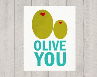 Nursery Art Print - Olive You - 5x7 - 8x10 - 11x14 - 16x20
