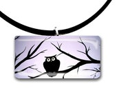 Woodland Owl, Handmade glass tile pendant, lilac purple and black, hand painted, spooky forest