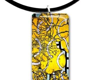 Tennis pendant, Yellow, Modern art, Abstract, handmade, Rectangle Glass tile, yellow and black