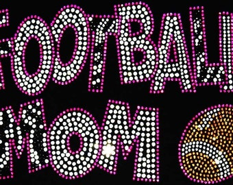 Zebra Football Mom Rhinestone Crystal Hot Fix Iron On Transfer