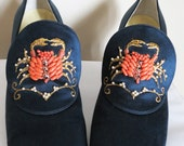 Reserved - SALE and FREE SHIPPING  - Stunning Silk Satin Navy Blue and Beaded Jerry Edouard Heels - Free Domestic Shipping