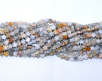"Crazy Lace Agate 6mm Star Gemstone Beads - 15.5"" Strand"