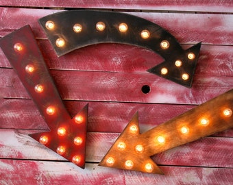 BIG Arrow Vintage Marquee Lighted Wood... Bar Business Wedding Gift