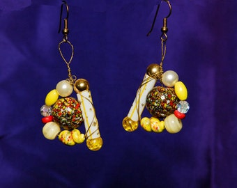 OOAK Southwestern Yellow Orange Wire Wrapped Earrings