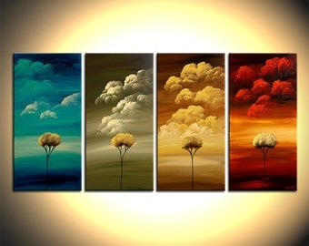 Landscape Painting Four Seasons Art  Tree Painting on Canvas Original fine art by Osnat  60 x 30 MADE-TO-ORDER